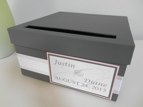 Modern Wedding Card Box Bridal Shower Reception Custom Handmade Blush Pink And Gray You Customize Colors