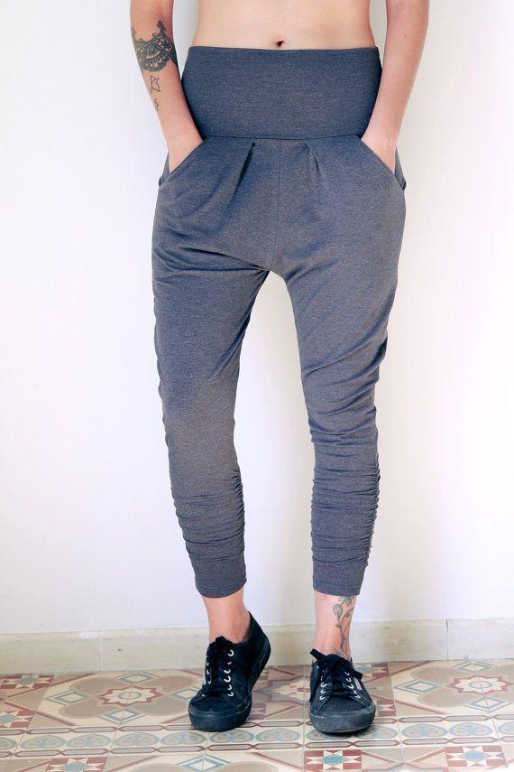 Black Joggers Yoga pants Drop Crotch Pants Loose Pants by Picarona 5d52b5c468f