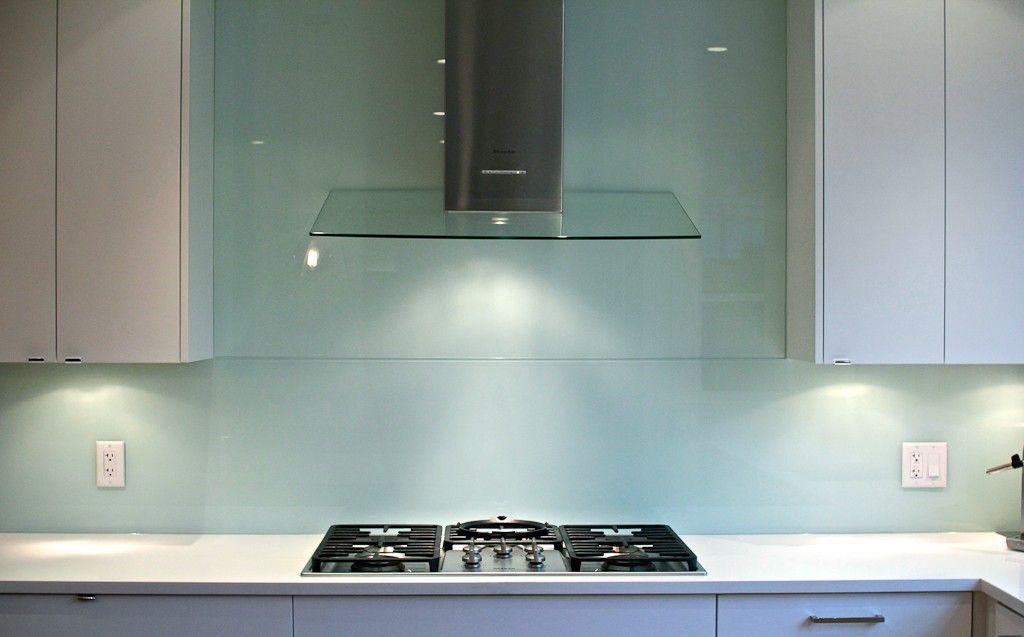 White And Walnut And Blue Tile Blue Glass Tile Glass Backsplash