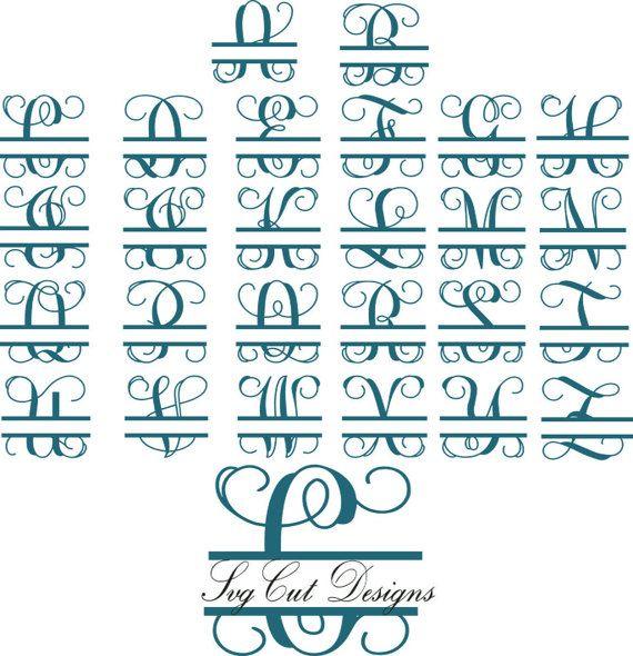 Split Letter Svg Split Monogram Letters Split Alphabet Svg Files Vector Files For Silhouette Split M Cricut Monogram Monogram Letters Monogram Letters Font