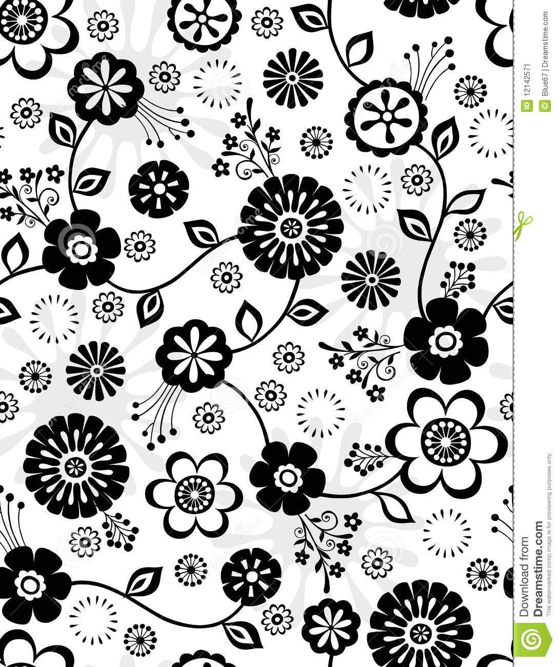 Black and white flowers seamless repeat pattern stock image black and white flowers seamless repeat pattern stock image mightylinksfo