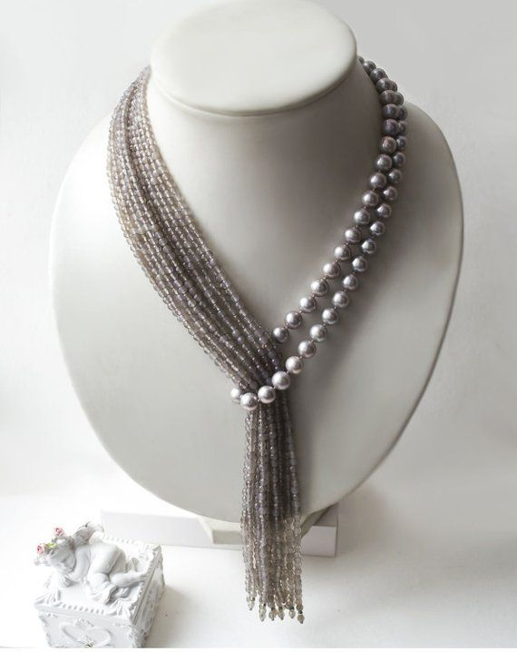 Items similar to Necklace-tie of gray pearl and agate with brooch «Tropical Rain» on Etsy