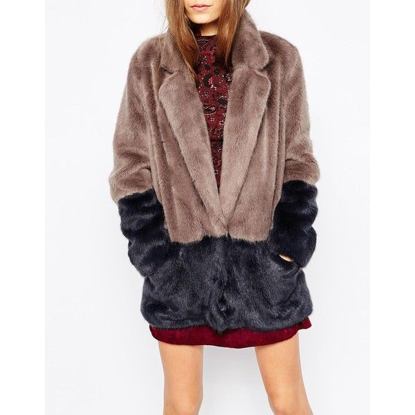Urbancode Faux Fur Colour Block Jacket (880 BRL) ❤ liked on Polyvore featuring outerwear, jackets, brown jacket, tall jackets, brown faux fur jacket, urbancode and color block jacket