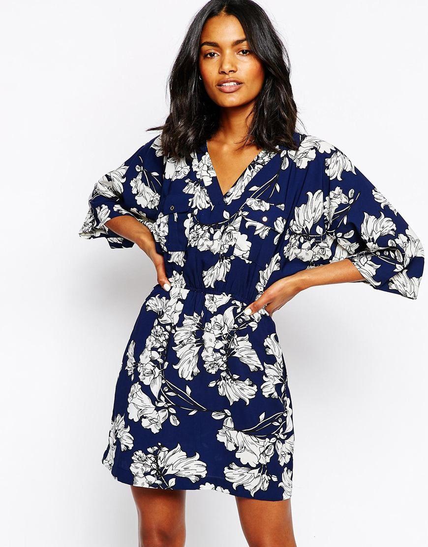 07a44d91752 River Island Kimono Sleeve Wrap Dress on ASOS