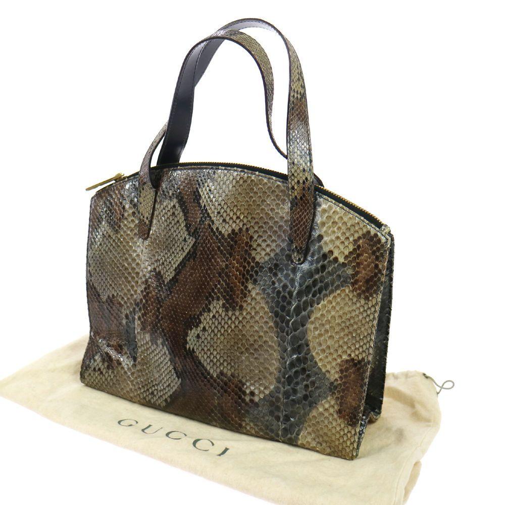 51da963f0e6e Authentic GUCCI Vintage GG Logos Hand Tote Bag Brown Python Leather AK14862  #Gucci #HandBag