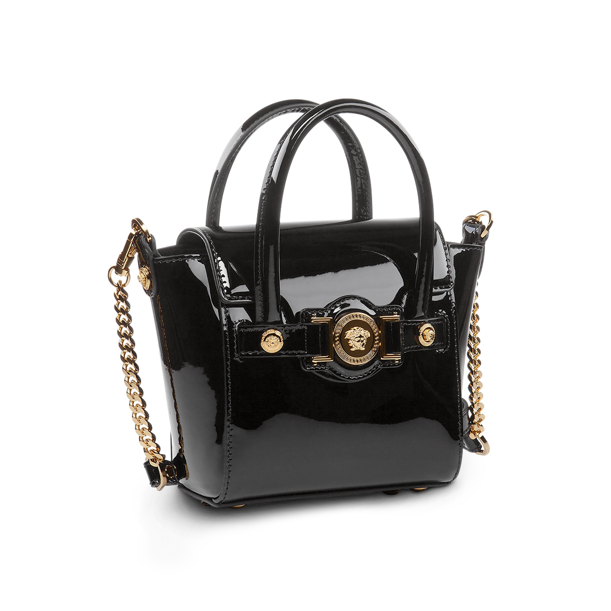 62258a533f4c Style indulgence -  Versace Mini Signature bag in patent leather. Find more  on versace.com  VersaceSignatureBag