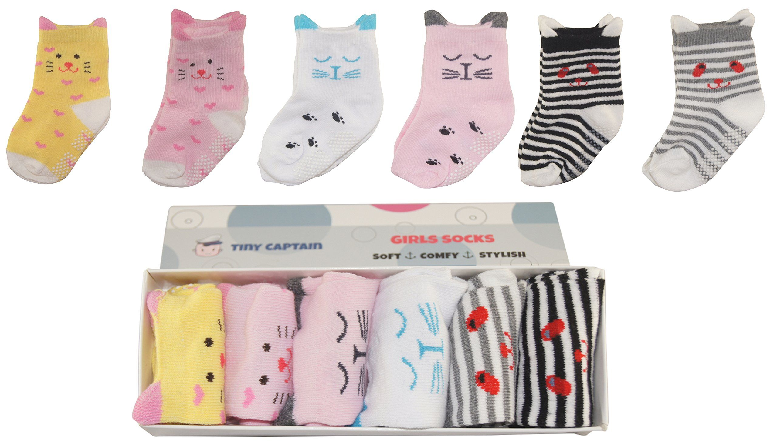 Baby Socks For Toddler Girls With Non Slip Grips 8 24 Month Girl