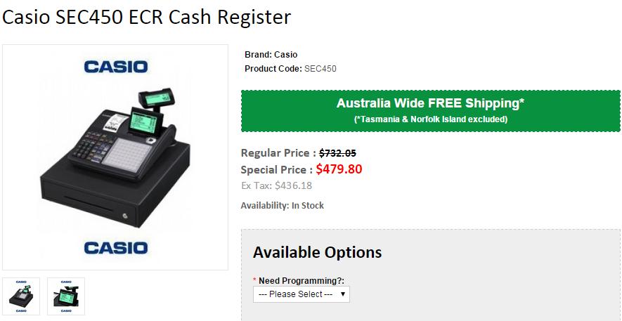 Casio SEC450 ECR Single Roll Cash Register Cash register