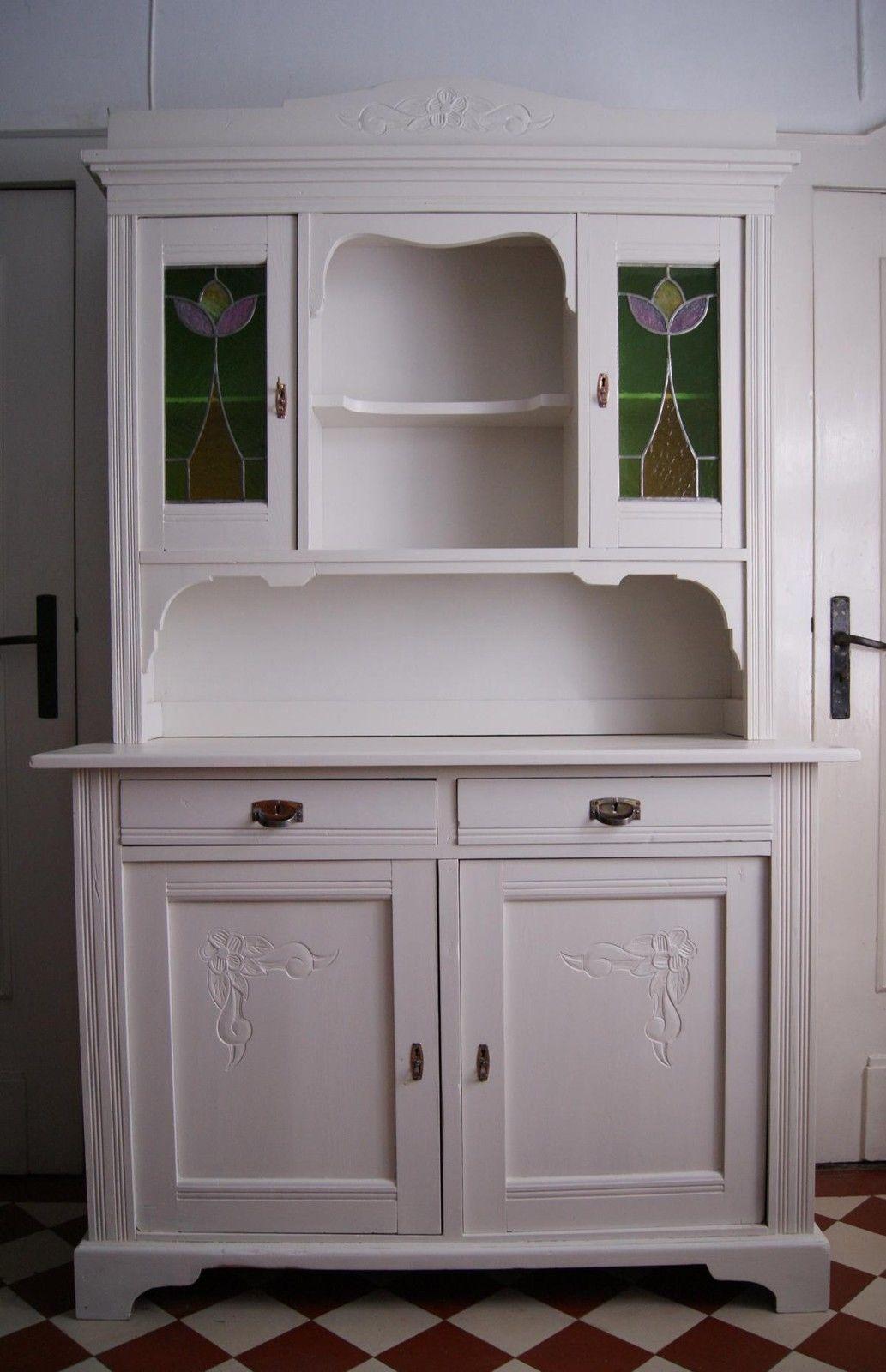 Küchenschrank Buffet antik Jugendstil Bleiglasfenster weiß ...