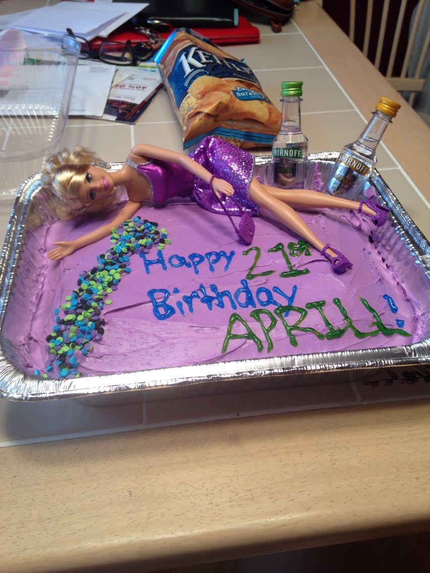 Drunk Barbie 21st Birthday Cake 21 Drinks Barbie Adventures In