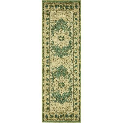 "Bungalow Rose Rialto Green Area Rug Rug Size: Runner 2'7"" x 10'"