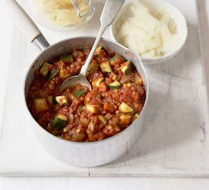 Vegetables with lentil Bolognese:  Previous recipe incorporated into a new dish.
