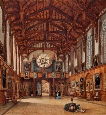Aquarel van het interieur van de Gotische Zaal, 1842. Paleis ...