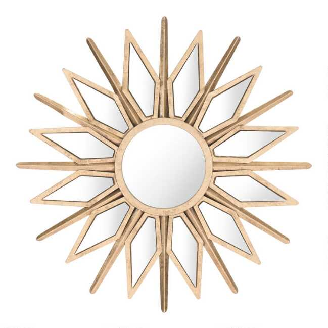Bring Radiance To Any Space With Our Striking Starburst Mirror Crafted Of Wood And Steel In A Warm Gold Gold Starburst Mirror Starburst Mirror Gold Starburst