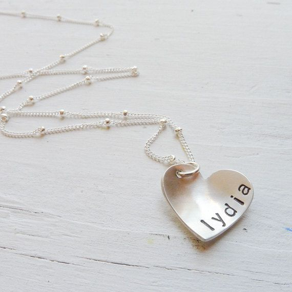 heart name necklace silver