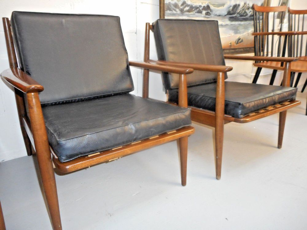 Danish Modern Mid Century Pair Of Walnut Lounge Arm Chairs W/Black Cushions  #DanishModern