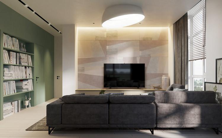 Wohnzimmer Beige Grau Pastellgrün Beleuchtung #interiordesign ...