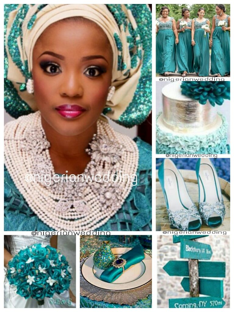 nigerian wedding teal amp cream wedding color schemejpg