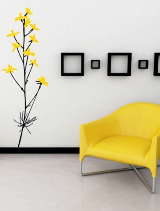 living room wall design ideas yellow color Deco Pinterest - wandgestaltung wohnzimmer gelb