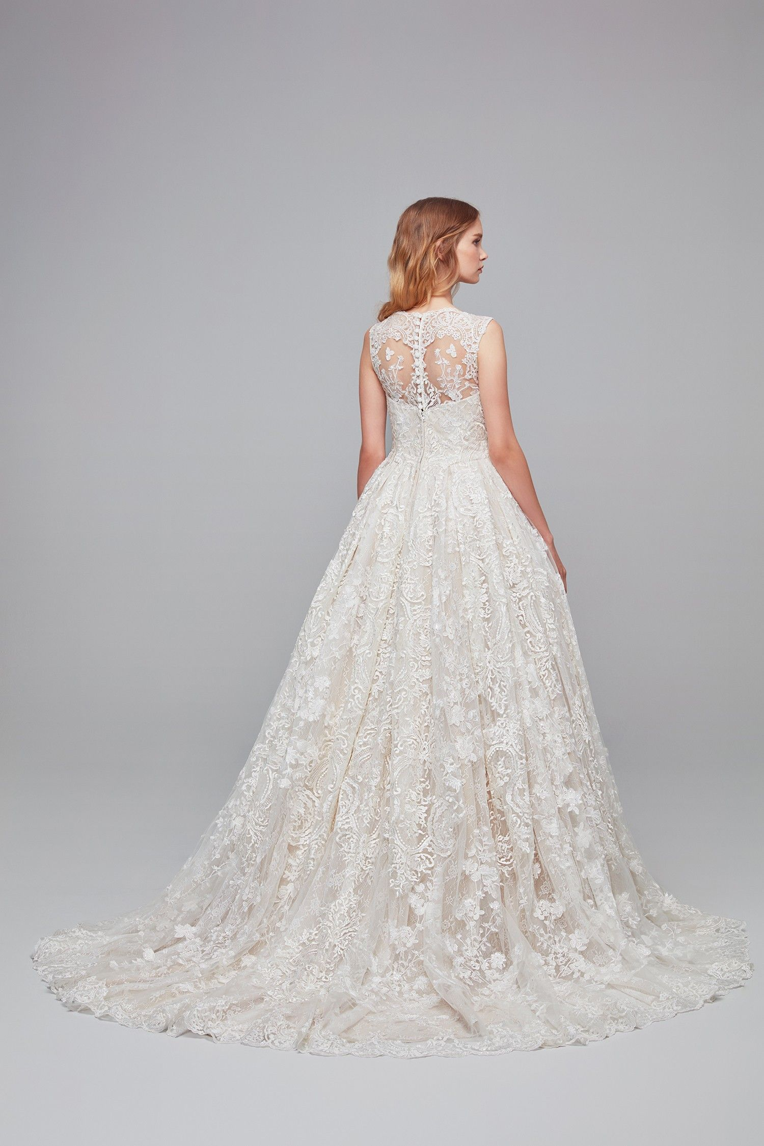 Beaded Lace Wedding Dress With Pleated Skirt Colour Ivory Champagne Style No Cwg7 Beaded Lace Wedding Dress Online Wedding Dress Wedding Dresses Lace