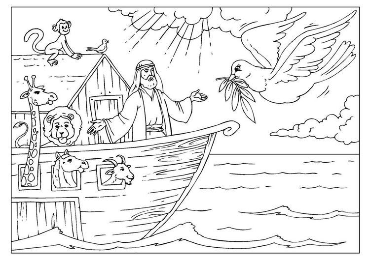 bible story noah and the ark coloring pages - coloring page noah 39 s ark kleurplaat pinterest ark