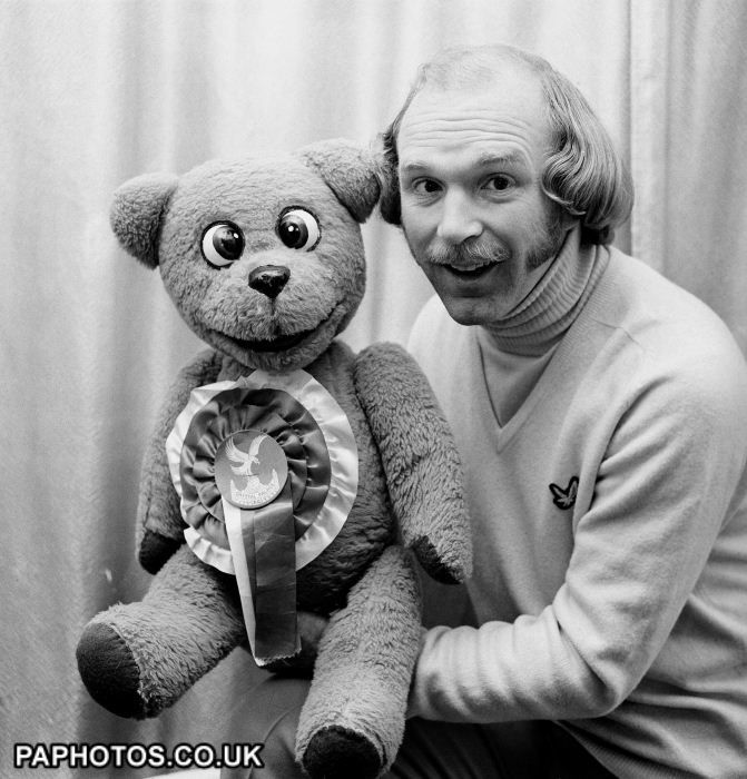 Roger de Courcey with his TV bear, Nookie, in his dressing room at the London Palladium.