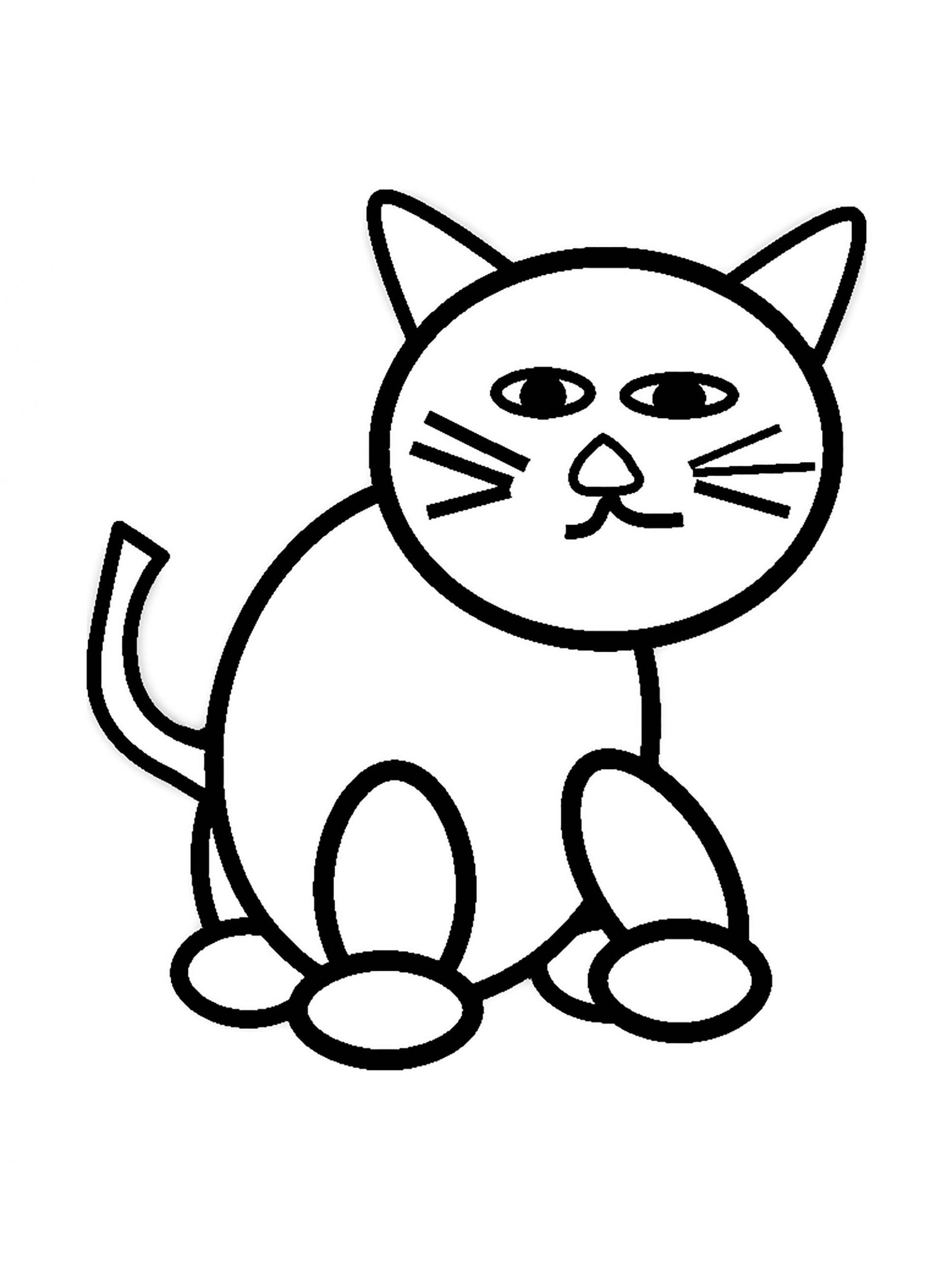 Simple Coloring Page For Kid Cat For Kids Simple Drawing Cats Kids Coloring Pages Cat Coloring Page Hello Kitty Colouring Pages Easy Coloring Pages