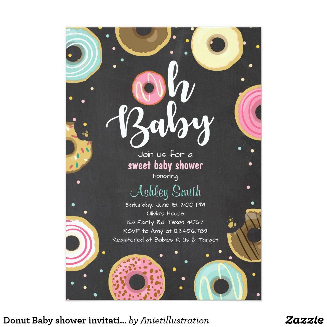 Donut Baby shower invitation Coed shower Doughnut | Shower ...