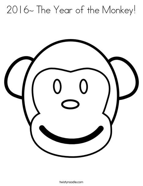 2016 The Year Of The Monkey Coloring Page Monkey Coloring Pages Monkey Face Coloring Pages
