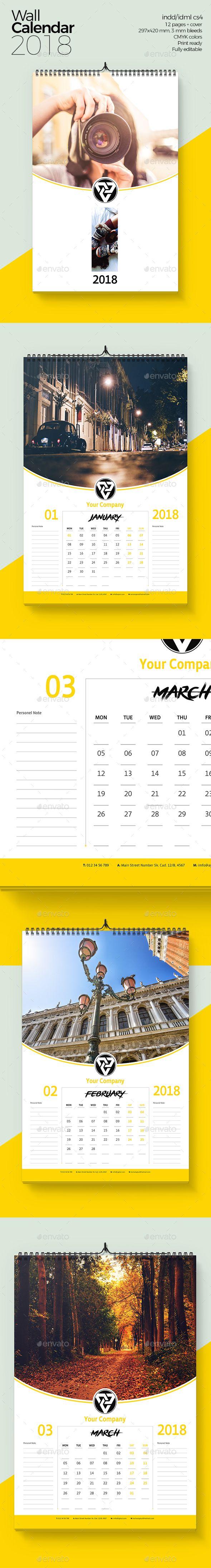 Wall Calendar 2018 v1 | Calendar 2018, Calendar design and Font logo