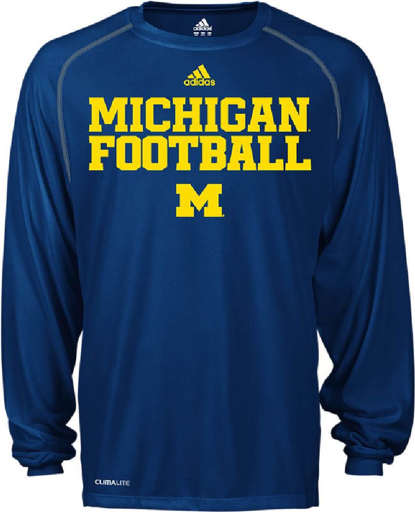 Michigan Wolverines Blue Synthetic Climalite Team Practice Long Sleeve Shirt by Adidas $32.95