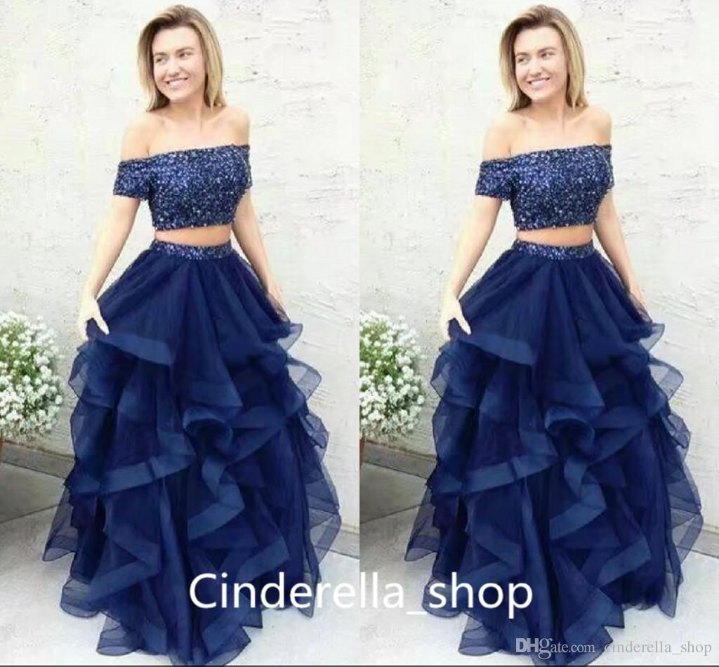 two pieces prom dresses off shoulder short sleeve sweep train