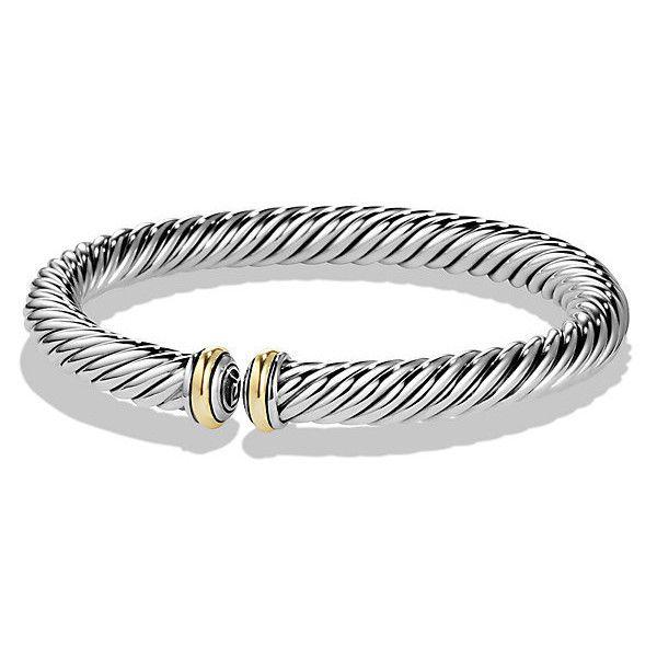 David Yurman Cable Spira Bracelet with 18K Gold (€510) ❤ liked on Polyvore featuring jewelry, bracelets, 18k gold bracelet, david yurman bangle, 18k bracelet, david yurman jewelry and 18k gold bangle