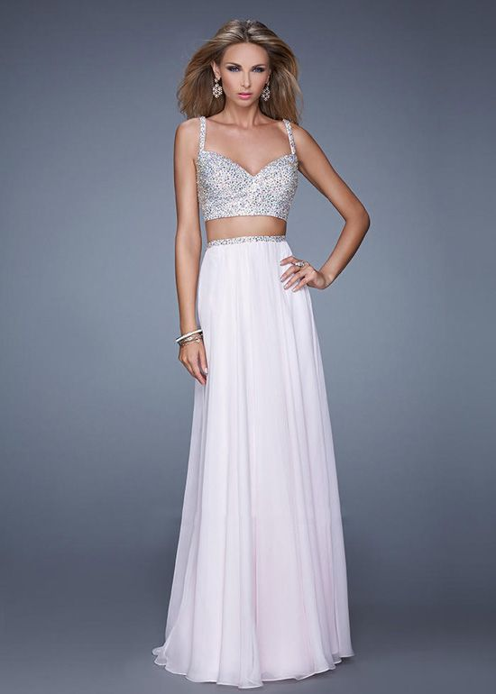 Wishesbridal Two Piece Long White Chiffon A Line Prom Evening ...
