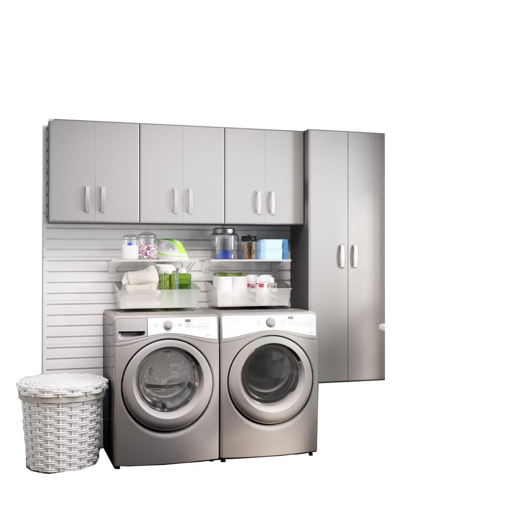 Flow Wall Modular Laundry Room Storage Set With Accessories In Platinum Carbon Fiber 4 Piece