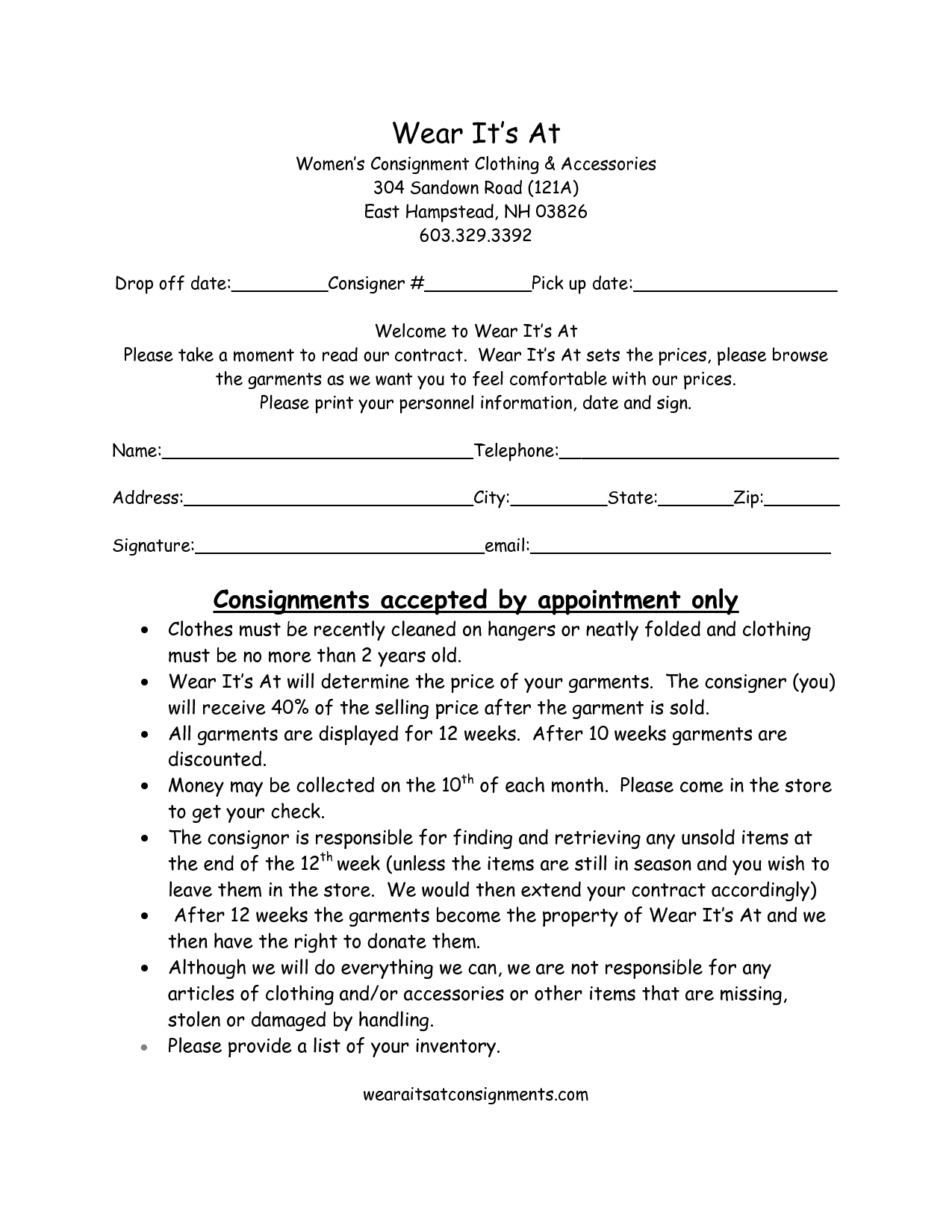 Clothing consignment contract template scope of work for Consignment shop contract template