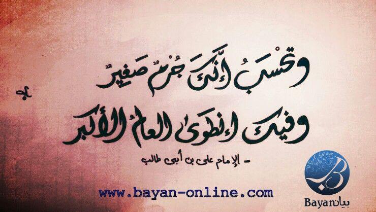 وتحسب إنك جرم صغير وفيك انطوى العالم اﻷكبر اﻹمام علي ابن أبي طالب Life Calligraphy Arabic Calligraphy