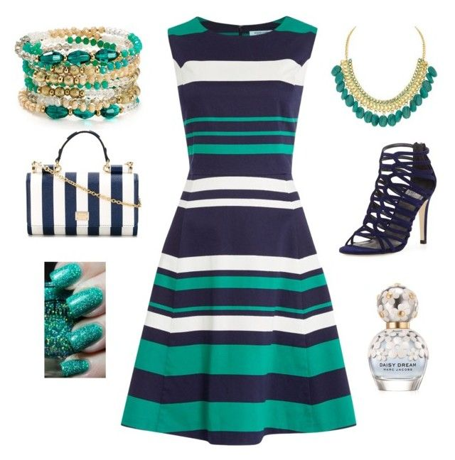 """Stripes"" by amna15 ❤ liked on Polyvore featuring Dickins & Jones, ABS by Allen Schwartz, Stuart Weitzman, Dolce&Gabbana and Marc Jacobs"