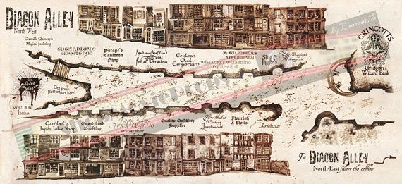 reproduction Diagon Alley Map used in Harry by ... on iowa county map, j.k. rowling map, ministry of magic map, wizard map, harry potter alley map, charing cross galloway street map, oklahoma tornado alley map, chamber of secrets map, hogwarts map, home map,