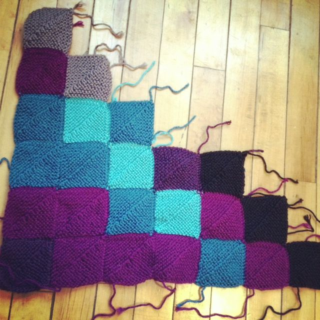 Alternate idea for the temperature scarf - knit a mitered square for ...