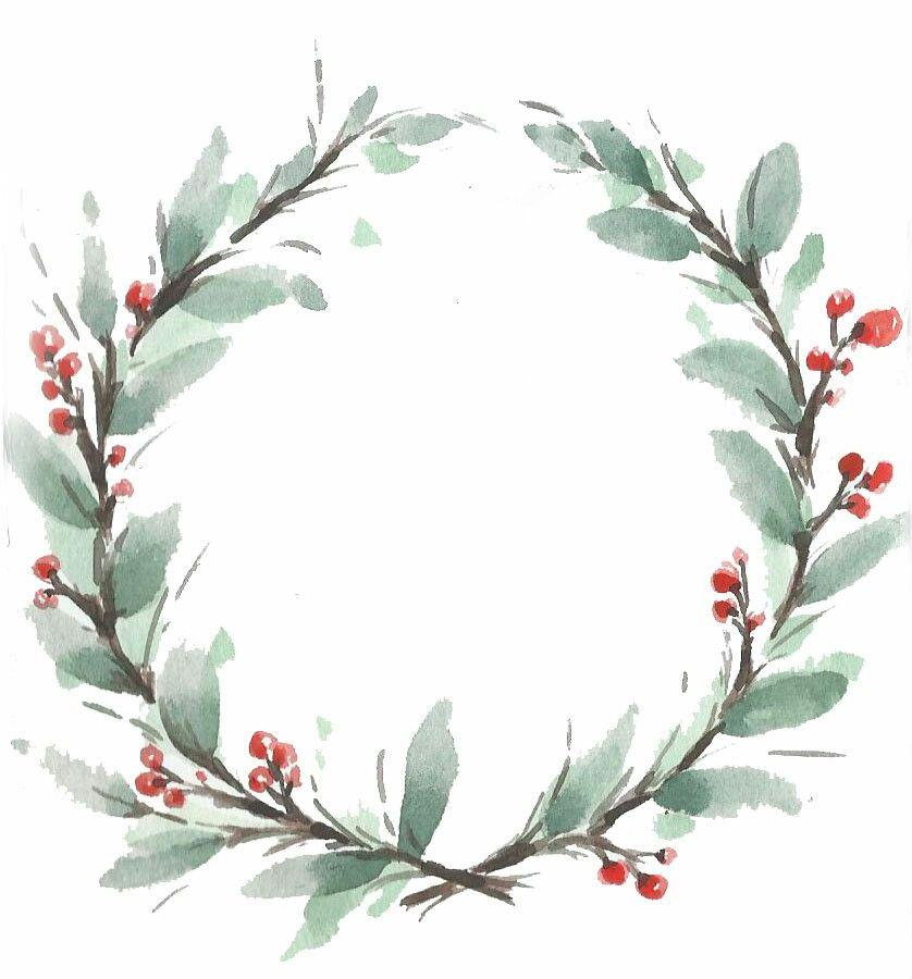 Photo of Watercolor Christmas wreath