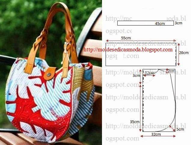 bolsa em tecido com alças em couro com molde e medidas