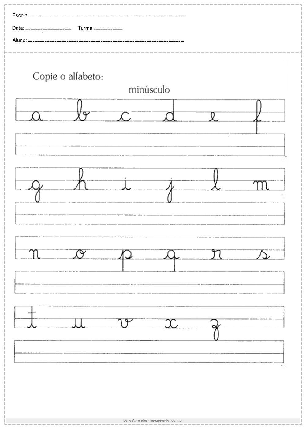 Atividades De Caligrafia Copie O Alfabeto Em 2020 Atividades De
