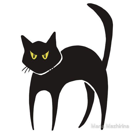 Cat With Fiery Eyes By Olga Chetverikova Cat Clipart Black Cat Drawing Halloween Cat