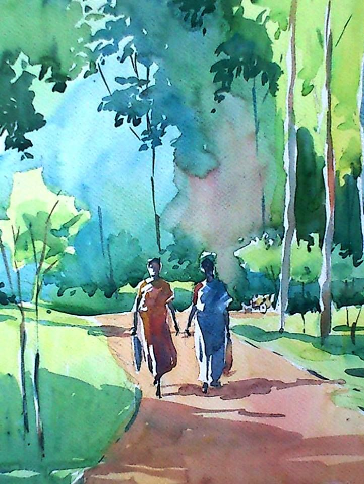 Figuras Tree Painting Canvas Art Painting Watercolor Art