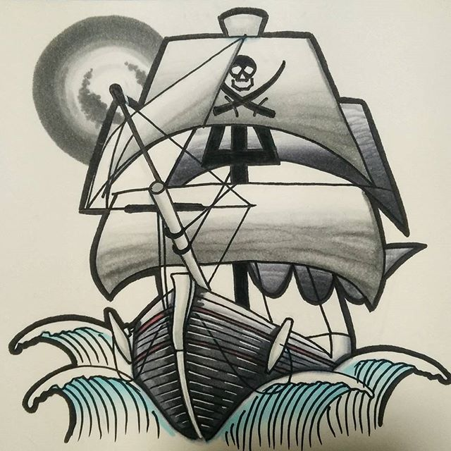 Really Love This Awesome Pirate Ship Design Created By Nuclearcheerios With Their Chameleon Pens Chameleonpens A Pirate Ship Drawing Ship Drawing Drawings