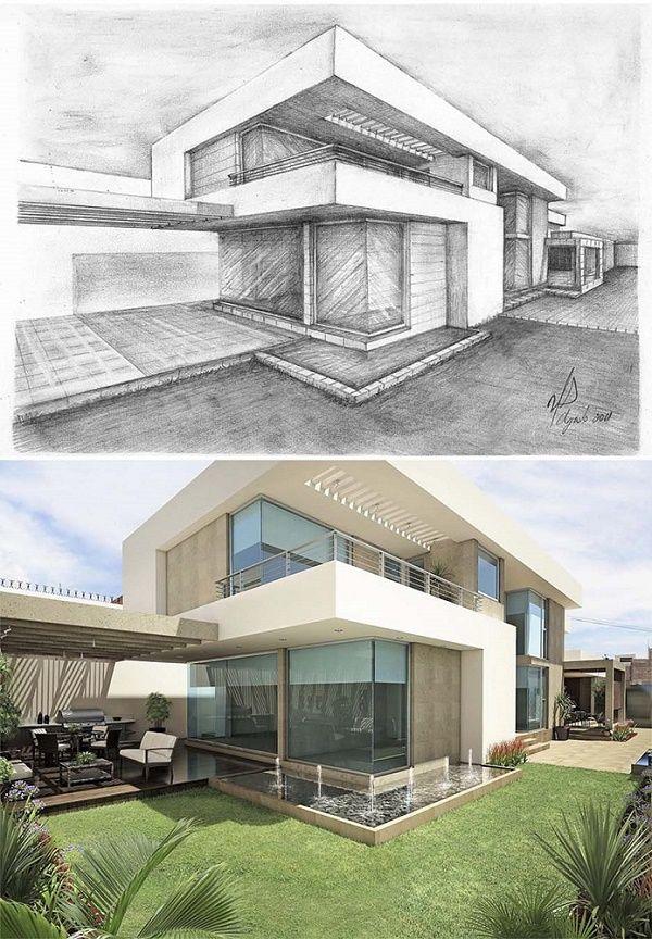 V ctor d az arquitectos sketches archicheture draw - Dibujos de casas modernas ...