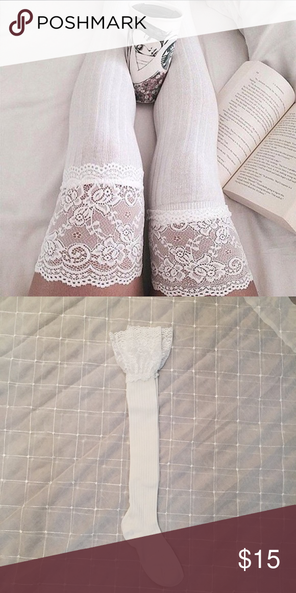 White Lace Knee High Boot Socks Super cute and trendy! Great to be styled all year round or can be worn around the house to feel sexy! Brand for exposure HUE Accessories Hosiery & Socks