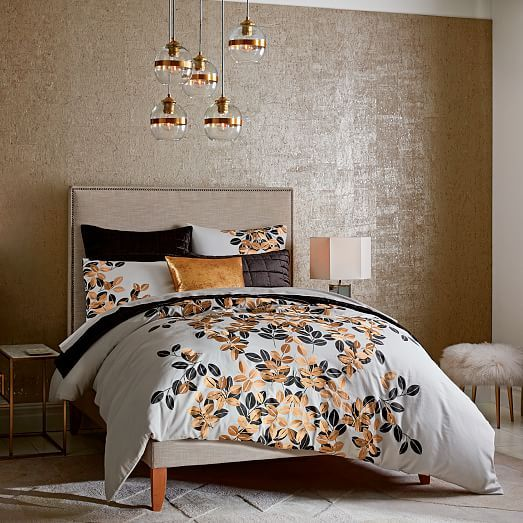 Organic Gilded Leaves Sateen Duvet Cover + Shams | west elm ...