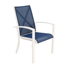 Stackable Aluminum Patio Chairs allen roth set of 4 ocean park white sling seat aluminum stackable